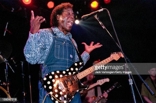 American blues musician Buddy Guy plays guitar on stage at the Bowery Ballroom New York New York May 31 2001
