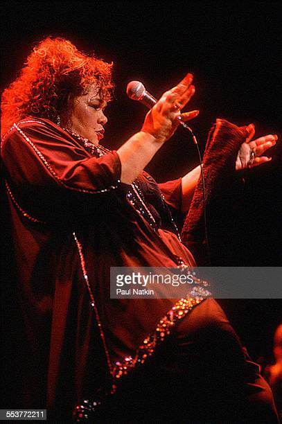 American Blues musician Etta James performs onstage at the Chicago Theater Chicago Illinois October 20 1991