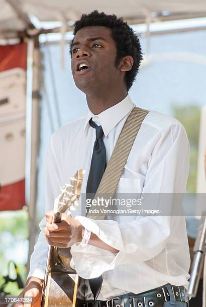 American blues musician Gary Clark Jr performs with the Honeydripper AllStars on Grant Park's Crossroads Stage during the 24th Annual Chicago Blues...