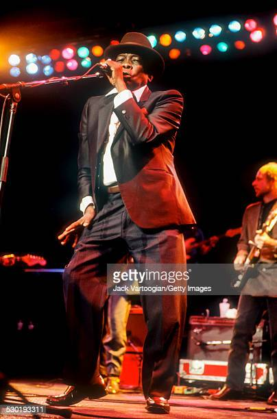 American Blues musician John Lee Hooker backed by the Benson Hedges AllStar Blues Band performs at a Benson Hedges Blues Festival Tribute concert in...