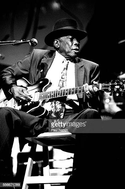 American Blues musician John Lee Hooker performs at the Aire Crown Theater Chicago Illinois October 12 1990