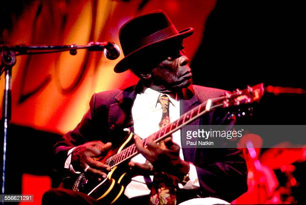 American Blues musician John Lee Hooker performs at the Riviera Theater Chicago Illinois October 19 1991