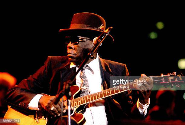 American Blues musician John Lee Hooker performs on stage Chicago Illinois October 12 1990