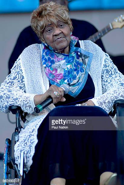 American Blues musician Johnnie Mae Dunson performs on Grant Park's Petrillo Bandshell Chicago Illinois June 8 2007