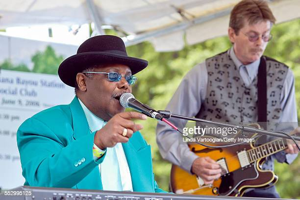 American Blues musician Kenny 'Blues Boss' Wayne performs on the Louisiana Bayou Station and Social Club Stage at the 23rd Annual Chicago Blues...