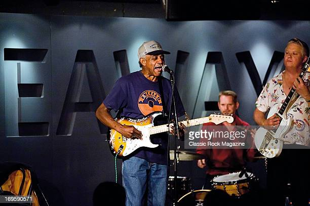 American blues musician Lazy Lester performing live onstage at the Hideaway jazz club, August 4, 2012.