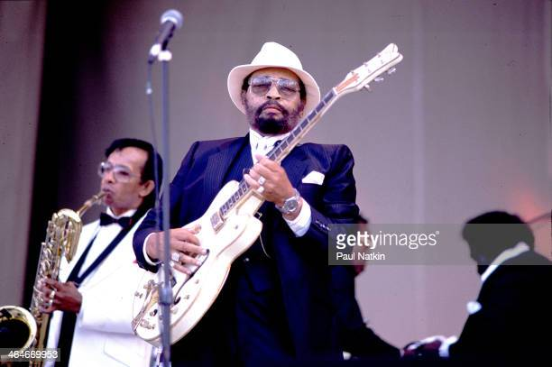 American Blues musician Lowell Fulson performs on stage at an unspecified, outdoor venue, Chicago, Illinois, June 9, 1990.
