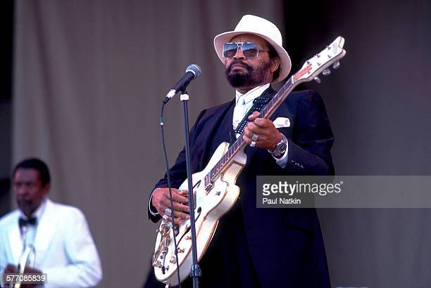 American Blues musician Lowell Fulson performs onstage at the Petrillo Band Shell during the Chicago BluesFest, Chicago, Illinois, June 9, 1990.