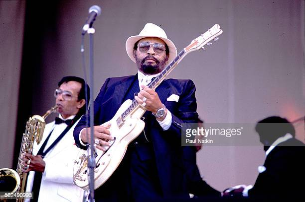 American Blues musician Lowell Fulson performs onstage, Chicago, Illinois, June 9, 1990.