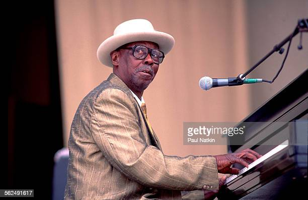 American Blues musician Pinetop Perkins performs onstage at the Petrillo Bandshell Chicago Illinois June 15 1991