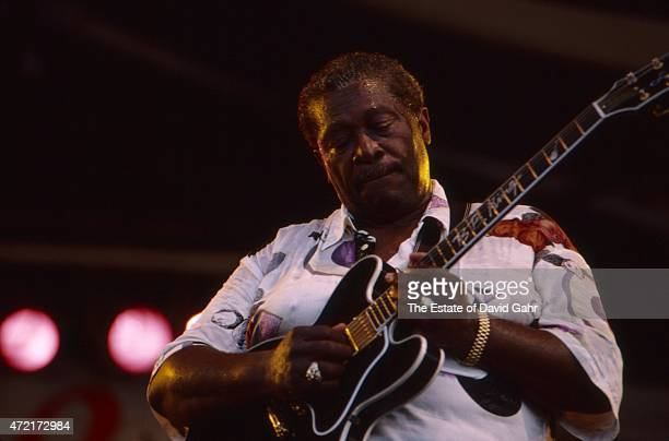 American blues musician, singer, song writer, and guitarist B.B. King performs at the New Orleans Jazz and Heritage Festival in April, 1994 in New...