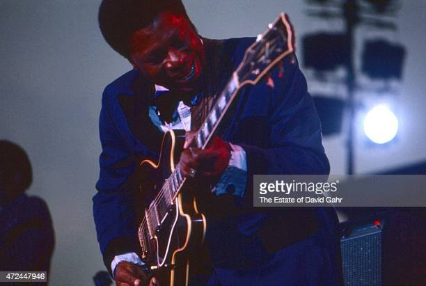 American blues musician, singer, song writer, and guitarist B.B. King performs at Yankee Stadium at the Newport Jazz Festival on July 7, 1972 in New...