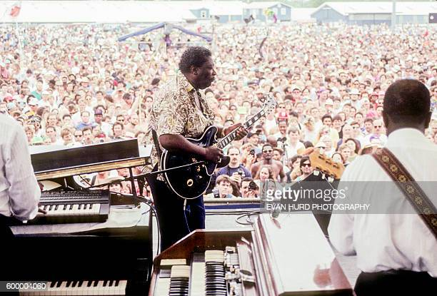American blues musician singer songwriter and guitarist BB King during the New Orleans Jazz Heritage Festival