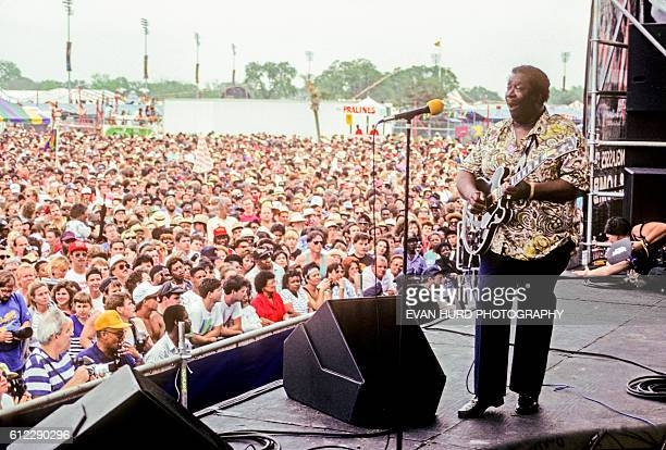 American blues musician, singer, songwriter, and guitarist B.B. King during the New Orleans Jazz & Heritage Festival.