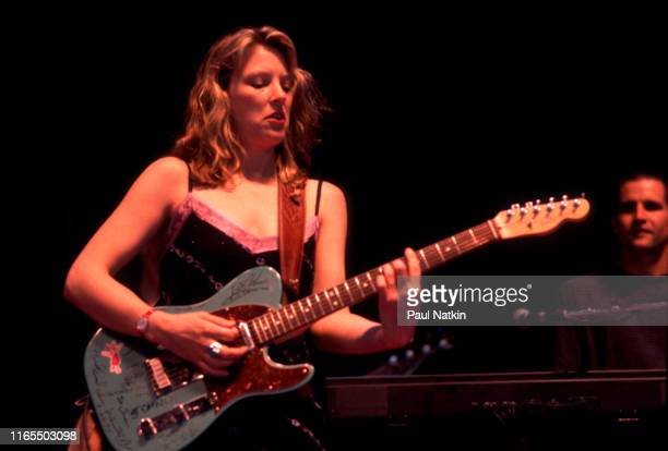 American Blues musician Susan Tedeschi plays guitar as she performs onstage at the Rosemont Theater Rosemont Illinois September 3 2000