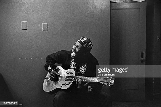American blues musician Taj Mahal playing the guitar in New Orleans USA 1973