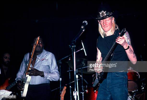 American blues musicians Albert Collins and Johnny Winter perform onstage at Park West Chicago Illinois February 10 1984