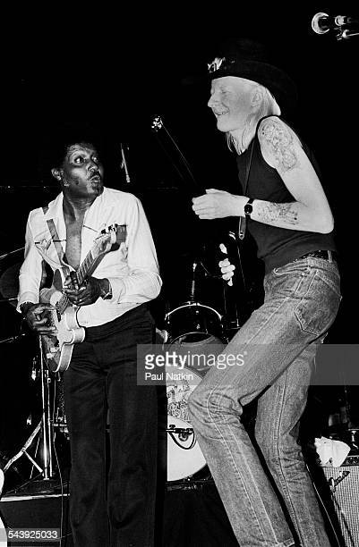 American blues musicians Albert Collins and Johnny Winter perform onstage at Park West Chicago Illinois February 10 1998
