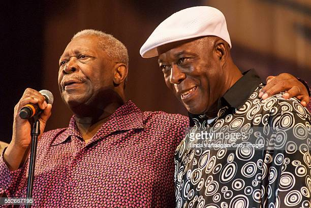American Blues musicians BB King and Buddy Guy stands together on the closing night of the 25th Annual Chicago Blues Festival at the Petrillo Music...