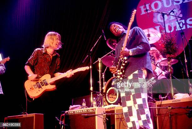 American Blues musicians Jonny Lang and Buddy Guy perform together on stage at the House of Blues Chicago Illinois June 24 1997