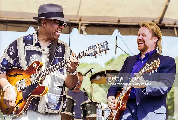 American Blues musicians WC Clark and Lee Roy Parnell play guitars on the Crossroads Stage at the 19th Annual Chicago Blues Festival in Grant Park...