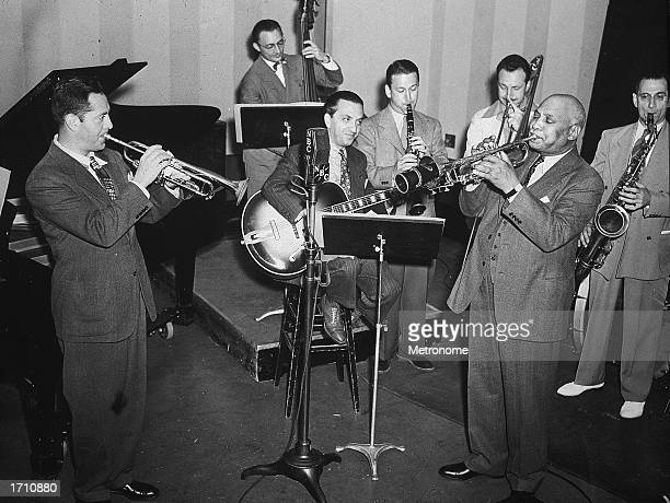 American Blues pianist, band leader, and songwriter W. C. Handy performs with Henry Levine and the Dixieland Octet, 1940s.