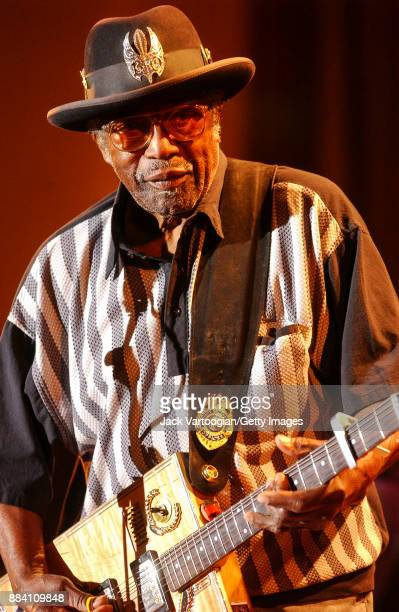 American Blues RB and Rock musician Bo Diddley plays guitar with his group the Bo Diddley Reunion Band on the Petrillo Music Shell stage at the 19th...