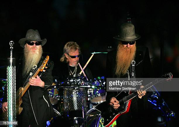 American Blues rock band ZZ Top performs at the half time show during the FedEx Orange Bowl between the Kansas Jayhawks and the Virginia Tech Hokies...