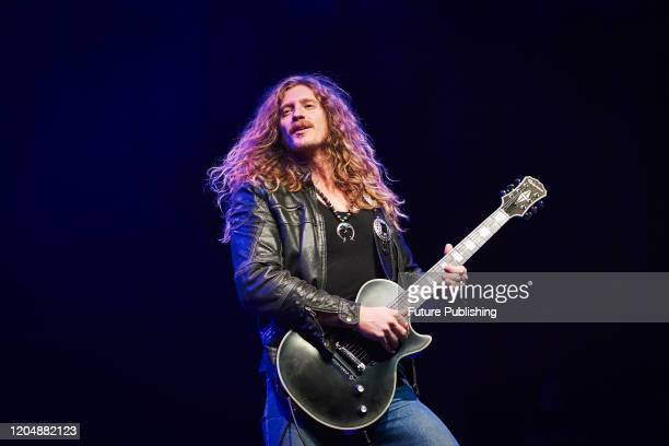 American blues rock musician Jared James Nichols performing live on stage during the Gibson Live At The Grove event at City National Grove in...