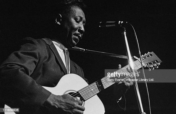 American blues singer and guitarist Muddy Waters performs at the American Folk Blues Festival in London 1963