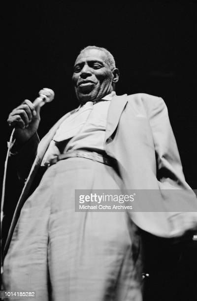 American blues singer and musician Howlin' Wolf born Chester Arthur Burnett in concert circa 1965