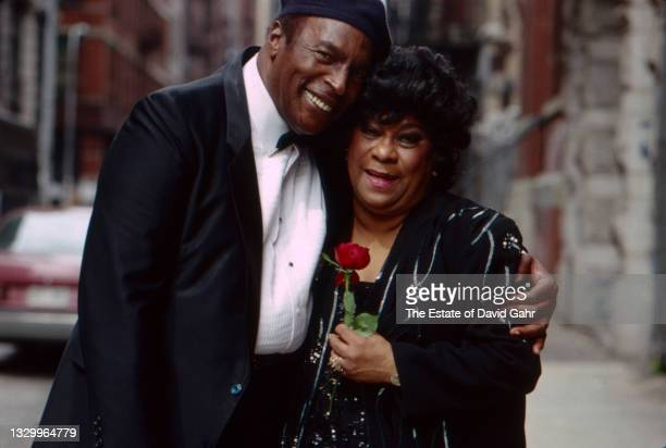 American blues singer and pianist Charles Brown and legendary rhythm and blues singer Ruth Brown pose for a portrait in May, 1990 in New York City,...