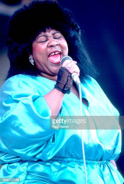 American Blues singer Gloria Hardiman performs onstage during the Chicago Blues Festival at the Petrillo Bandshell Chicago Illinois June 8 1986