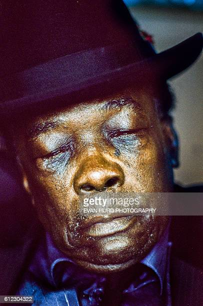 American blues singer songwriter and guitarist John Lee Hooker during the New Orleans Jazz Heritage Festival