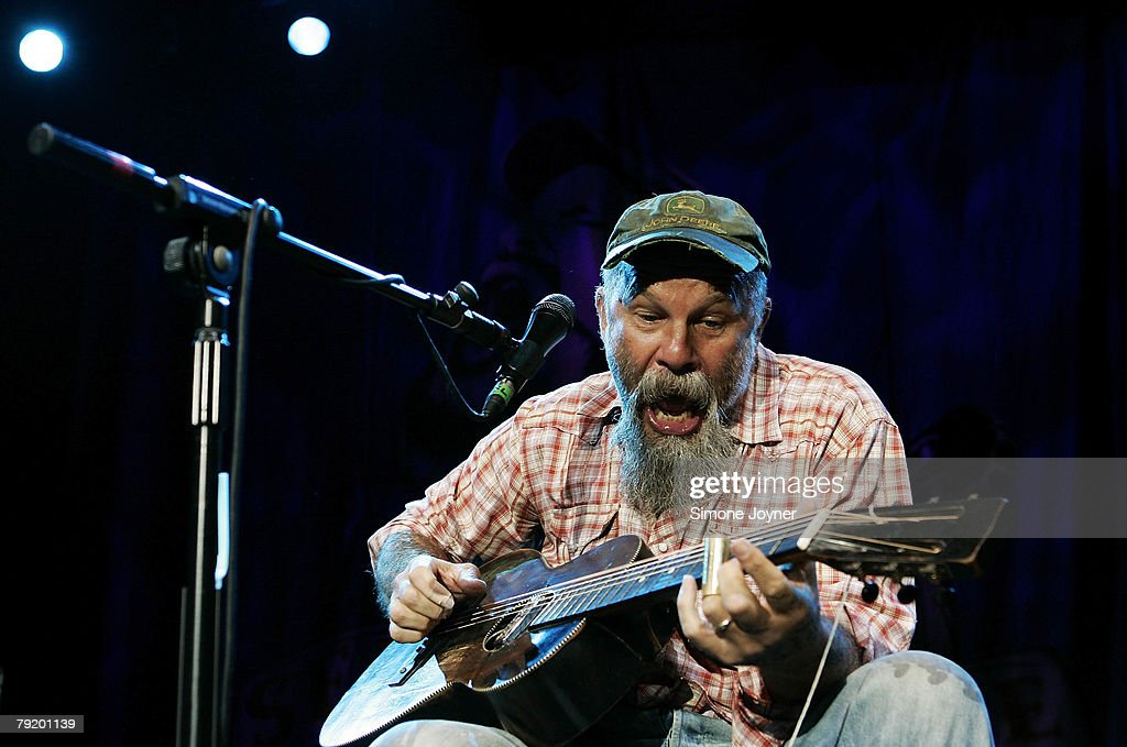 American bluesman Seasick Steve, aka Steve Wold, performs live on stage at The Astoria on January 24, 2008 in London, England.