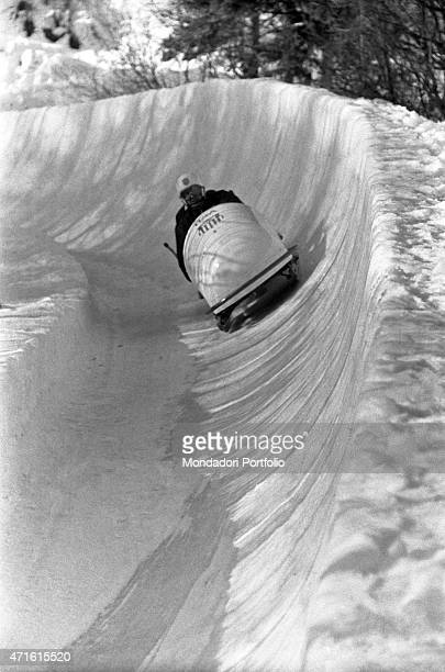 American bobsleigh team competing in a race at the VII Olympic Winter Games Cortina d'Ampezzo 1956
