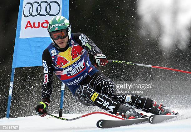 American Bode Miller competes during the men's downhill race during the FIS Ski World cup 19 January 2008 in Kitzbuehel. Swiss skier Didier Cuche won...