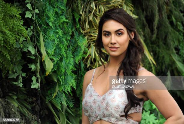 American Bollywood dancer and actress Lauren Gottlieb poses for a photograph during Lakmé Fashion Week Summer Resort 2017 in the Indian city of...
