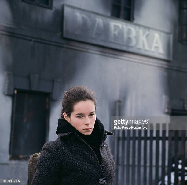American born actress Geraldine Chaplin pictured in character as Tonya Gromeko on the set of the feature film 'Doctor Zhivago' in 1965