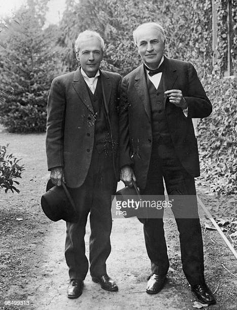 American botanist Luther Burbank with inventor Thomas Edison , circa 1890.