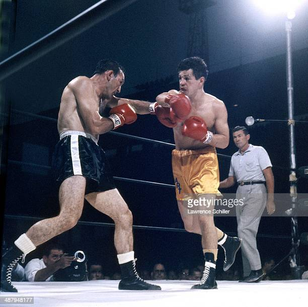 American Boxer Carmen Basilio fights Art Aragon at Wrigley Field Los Angeles California September 5 1958 The referee is Tommy Hart Basilio won the...