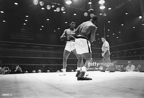 American boxer Cassius Clay on his way to defeating Sonny Liston during their world heavyweight title fight at Miami Beach Florida