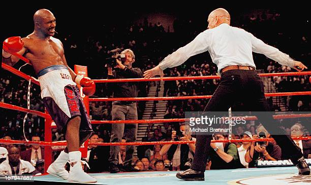 American boxer Evander Holyfield after Mike Tyson bit his ear and pushed him into the ropes during a fight at the MGM Grand Hotel and Casino Las...