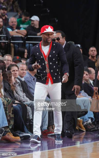 American boxer Floyd Mayweather attends the game between the Boston Celtics and Sacramento Kings on February 8 2017 at Golden 1 Center in Sacramento...