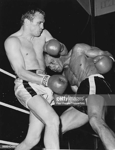 American boxer Harold Johnson defends his World Light Heavyweight Championship title against challenger Gustav 'Bubi' Scholz of Germany in Berlin on...