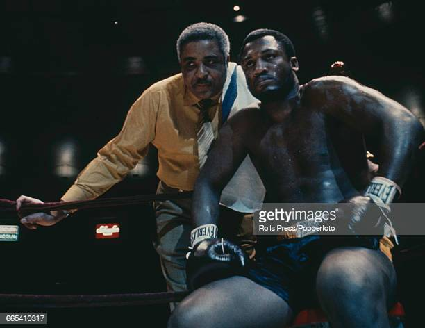 American boxer Joe Frazier pictured together with his trainer Yancey Durham at Madison Square Garden in New York in January 1970 prior to his...