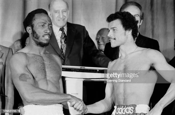 American boxer Lonnie Bennett shaking hands with British boxer John Conteh ahead of their fight at the Empire Pool Wembley for the World Boxing...