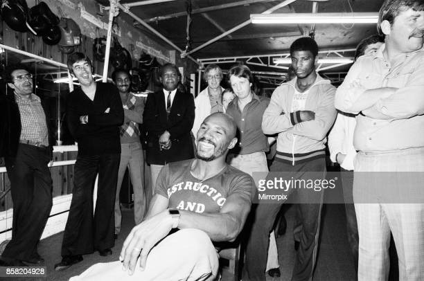 American boxer Marvin Hagler in London to challenge WBC and WBA middleweight champion Alan Minter Hagler dethroned champ Minter in round three by TKO...