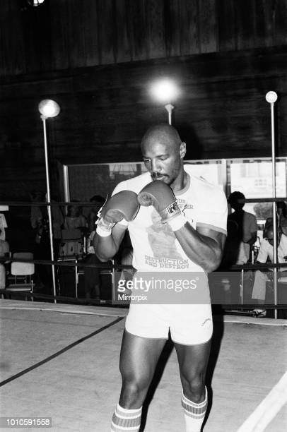 American boxer Marvin Hagler training ahead of his title challenge against WBC and WBA middleweight champion Alan Minter. Hagler dethroned champ...