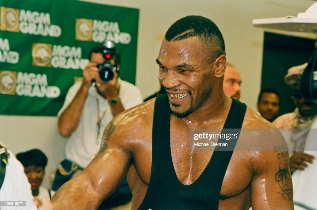 American boxer Mike Tyson in training at the MGM Grand Las Vegas after his release from prison, 1995.